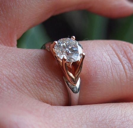 MaeVona Jura engagement ring in rose gold and platinum