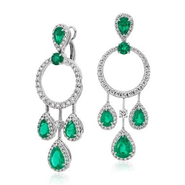 Pear shaped emerald and diamond drop earrings set in 18K white gold at Blue Nile