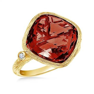 Garnet cushion cut gemstone and diamond bezel ring set in 14K yellow gold at B2C Jewels