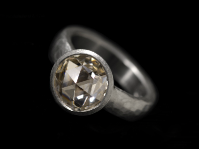 Malcolm Betts hammered platinum ring with 2.47ct rose cut diamond