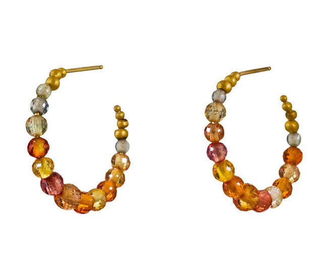 Crescent Moon Hoops with multi-toned and faceted sapphire beads by Mallary Marks