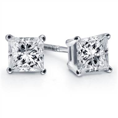 Prong set princess diamond stud earrings at B2C Jewels