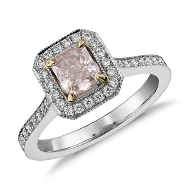 Radiant cut fancy light pink diamond halo ring in platinum at Blue Nile