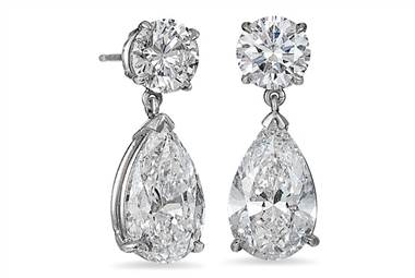 Pear-shaped brilliant diamond drop earrings in platinum at Ritani