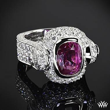 "Antique cushion pink sapphire set in platinum ""pizzazz"" sapphire and diamond right hand ring at Whiteflash"