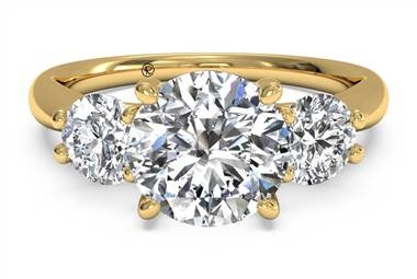 Three stone diamond engagement ring in 18K yellow gold at Ritani
