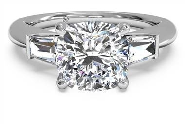 Tapered baguette diamond engagement ring set in 14K white gold at Ritani