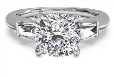 Tapered baguette diamond engagement ring set in 14K white gold at Ritani