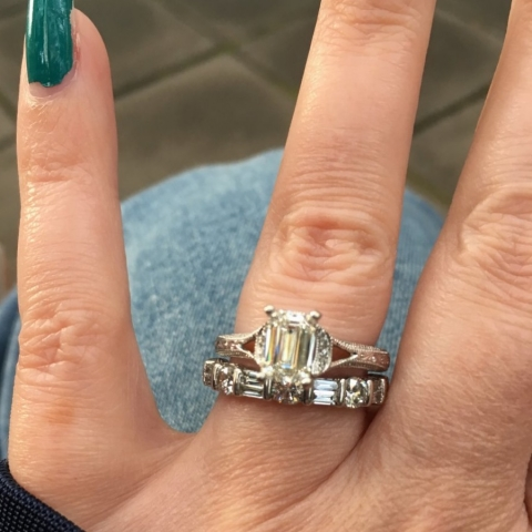 Matthews1127 Emerald Cut Diamond Engagement Ring Hand View