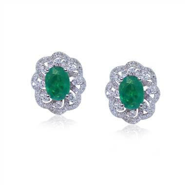 Floral design emerald and diamond earring set in 18K white gold at I.D. Jewelry