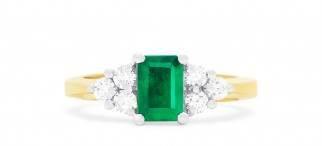 Brasilica 14K two-tone emerald and diamond ring at EFFY