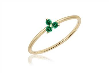 EF collection mini emerald trio stack ring in 14K yellow gold at Ritani