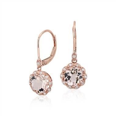 Morganite and diamond milgrain halo leverback drop earrings set in 14K rose gold at Blue Nile