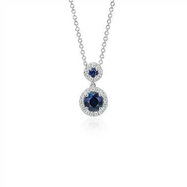 Isloa sapphire and diamond halo pendant set in 14K white gold at Blue Nile