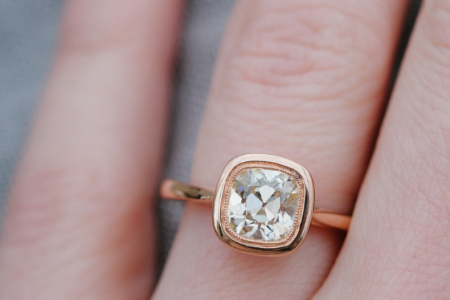 Rose gold bezel ring with 'August Vintage' Cushion diamond • Image by DorotheaBrooke