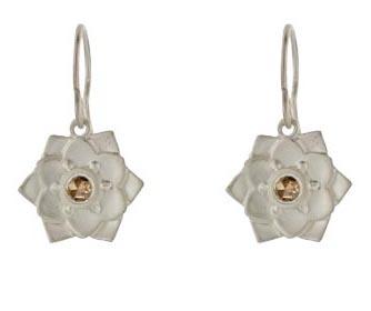 Me & Ro Lotus Flower earrings with brown diamonds