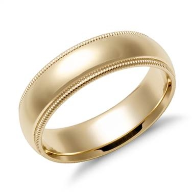 Bottom: Milgrain comfort fit wedding ring set in 14K yellow gold at Blue Nile