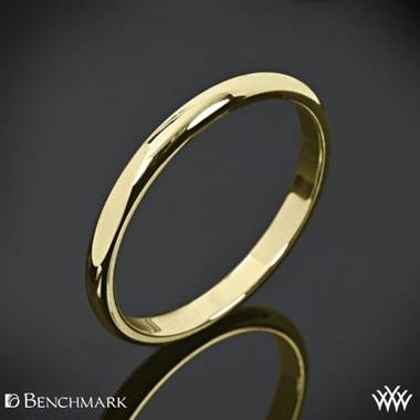 Top: Two millimeter benchmark half round wedding band set in 14K yellow gold at Whiteflash