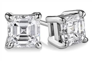 Asscher four-prong basket diamond stud earrings set in platinum at Ritani