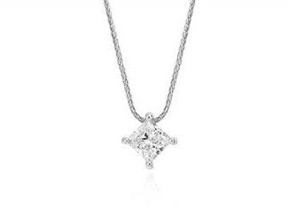 Signature princess-cut floating diamond solitaire pendant set in platinum at Blue Nile