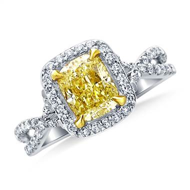Fancy light yellow canary cushion cut diamond crossover twist ring in 18k white gold at B2C Jewels