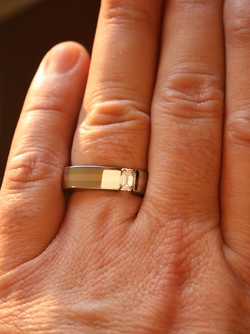 Men's Boone Titanium Tension Set Diamond Ring on the Hand