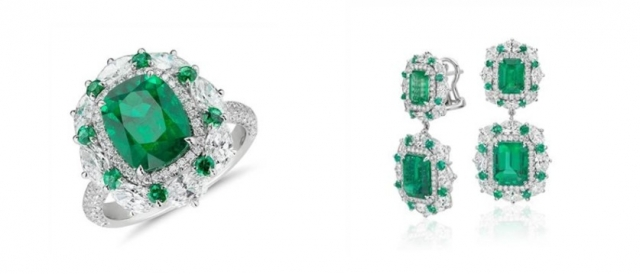 Left: Emerald and diamond cocktail ring set in 18K white gold at Blue Nile