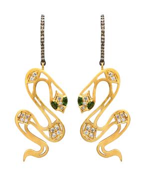 Meus large gold serpent earrings • Broken English
