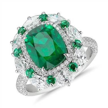 Emerald and diamond cocktail ring set in 18K white gold at Blue Nile