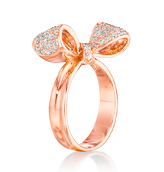 18k rose gold bow diamond ring by Mimi So