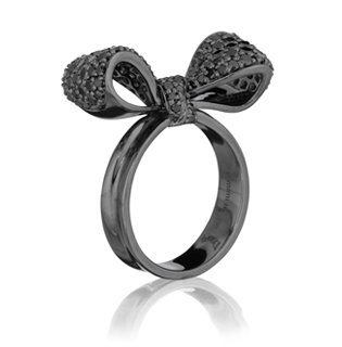 Mimi So • Black diamond Bow ring in 18k oxidized white gold