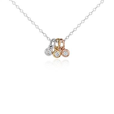 Mini trio diamond bezel pendant at Blue Nile