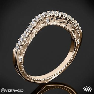 Verragio beaded arch diamond wedding ring set in 20K rose gold at Whiteflash