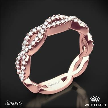 Simon G. fabled diamond wedding ring set in 18K rose gold at Whiteflash