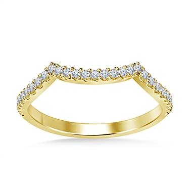 Sculpted diamond wedding band prong set in 14K yellow gold at B2C Jewels