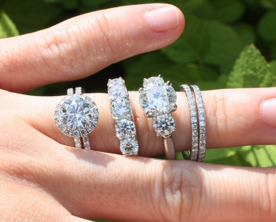 Halo Diamond Ring, Three-Stone Ring, Five-Stone Ring, and Pavé Diamond Eternity Bands