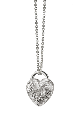 Engraved heart charm necklace by Monica Rich Kosann