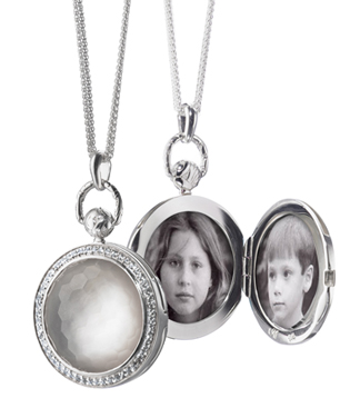 Monica Rich Kosann Pocket Watch inspired sterling silver locket with faceted rock crystal