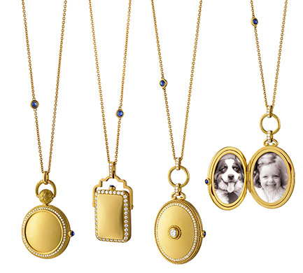 Monica Rich Kosann Pocket Watch Inspired 18k gold and diamond lockets
