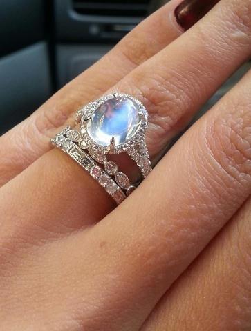 moonstone and diamond ring image by star sparkle - Moonstone Wedding Rings