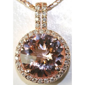 pink gold morganite pendant