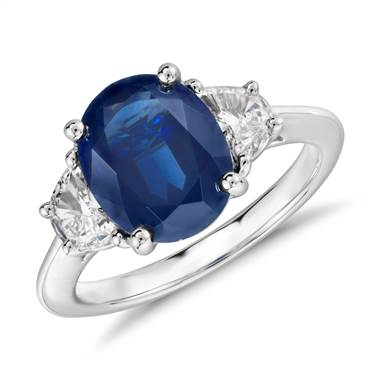 Oval sapphire and diamond ring set in platinum at Blue Nile