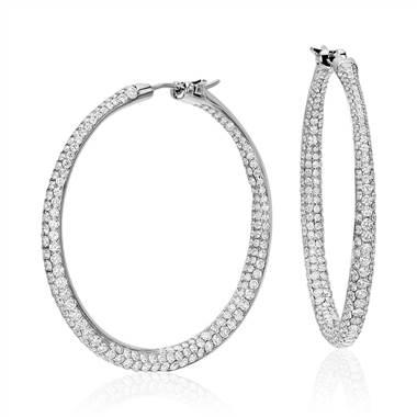 Lucille diamond rollover hoop earrings in 18K white gold at Blue Nile