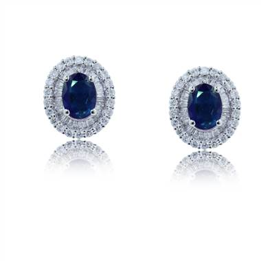Double halo oval shaped sapphires and diamond earrings set in 18K white gold