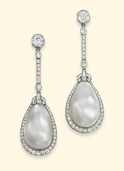 Natural pearl and diamond earrings circa 1920