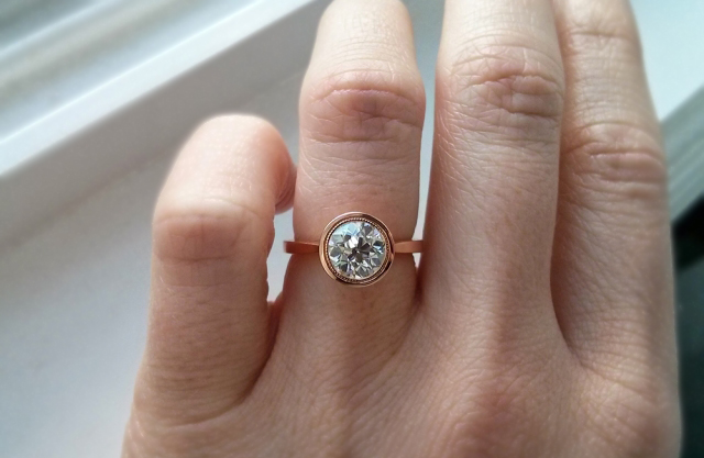 Rose gold bezel diamond ring with old European cut diamond