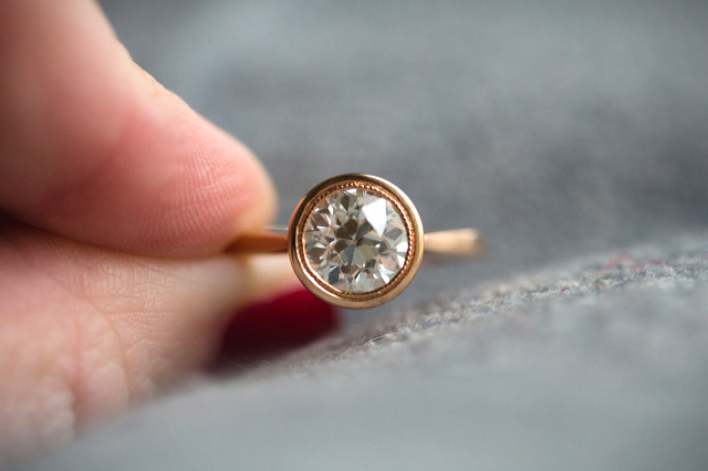Rose gold diamond engagement ring with OEC