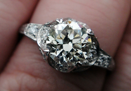 Old cut diamond in vintage style setting