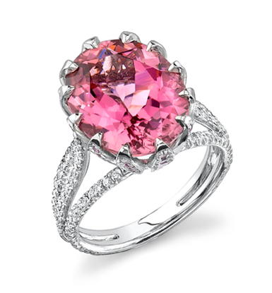 Pink tourmaline and diamond ring by Omi Privé