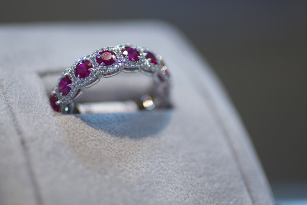 Omi Privé Platinum Guild Award winning design, shown with rubies